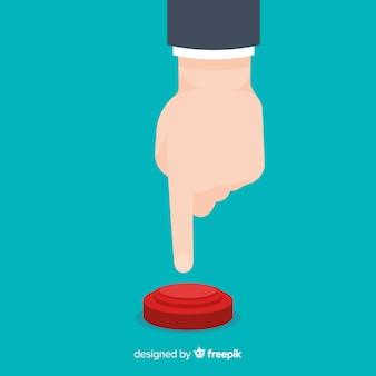 Dedo presionando botón rojo de start en diseño flat