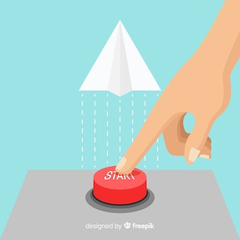 Dedo presionando botón rojo de start