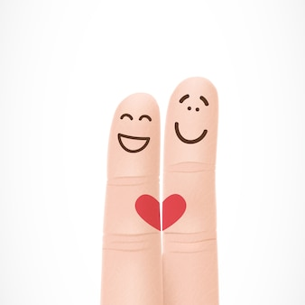 Dedos divertidos con caras en el amor
