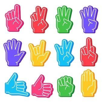 Dedos de espuma. mano de fanático de los deportes con gesto diferente. números, signo de ok y puño, palma abierta. equipo de estadio apoyo victoria conjunto de vectores de recuerdo. animando al equipo deportivo favorito, pulgar hacia arriba y señal grosera