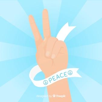 Dedos de la paz clásicos con diseño plano