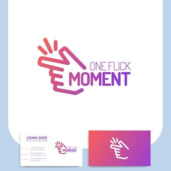 Los dedos se rompen o hacen clic en el logotipo de la mano en el estilo de línea con la tarjeta de visita