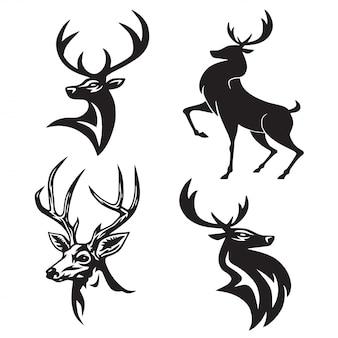 Deer logo set premium design vector