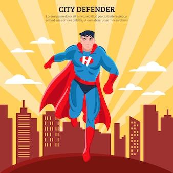 Defensor de la ciudad plana ilustración vectorial