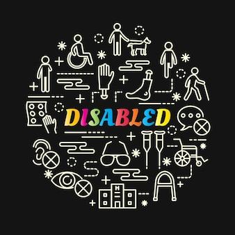 Degradado de colores con discapacidad con iconos de línea