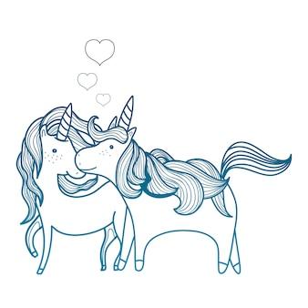 Degradado contorno belleza unicornio pareja juntos animales