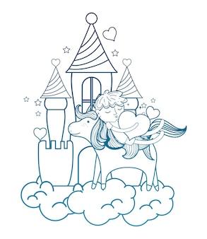 Degraded outline sleeping boy riding unicorn