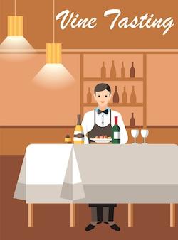 Degustación de vino con banner de vector plano experto