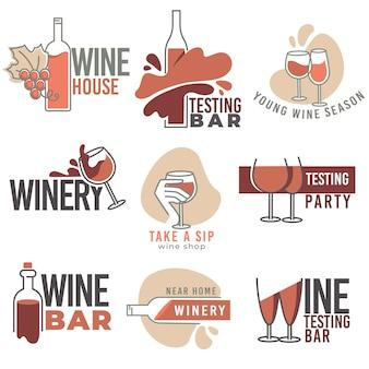Degustación de vino en bar o casa, etiquetas aisladas o emblemas