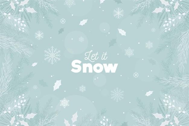 Deja que nieve letras sobre fondo de invierno