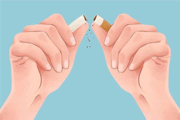 Dejar de fumar concepto con cigarrillo roto