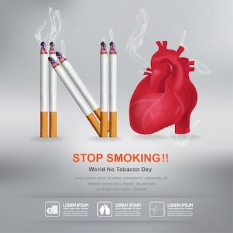 Dejar de fumar concepto día mundial sin tabaco