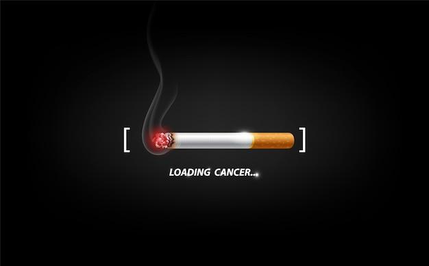 Dejar de fumar concepto de publicidad, cigarrillo encendido como barra de carga de cáncer, ilustración