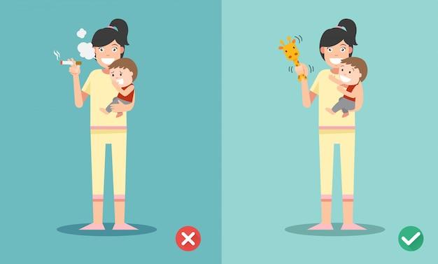 Dejar de fumar para niños, incorrecto y correcto para no fumar