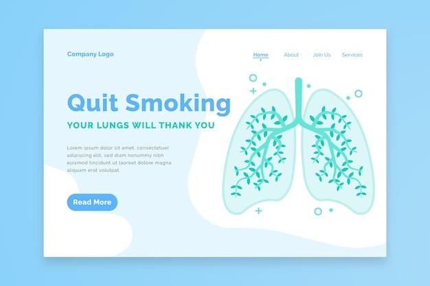 Dejar de fumar página de destino con pulmones
