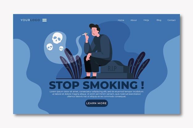 Dejar de fumar plantilla de página de destino con hombre