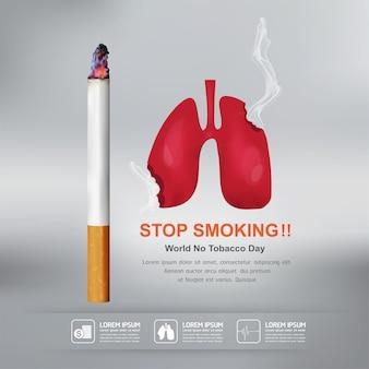 Dejar de fumar vector concepto día mundial sin tabaco.