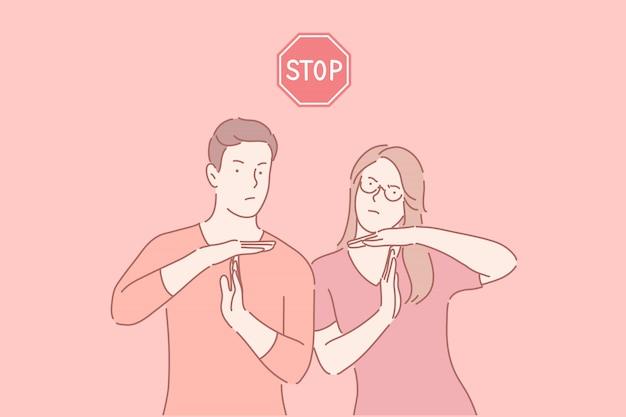 Dejar de trabajar tiempo descanso gesto tiempo de espera señal concepto