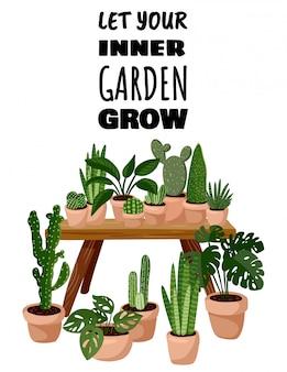 Deje que su jardín interior crezca la tarjeta.