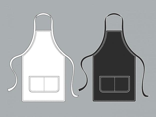 Delantal de chef. delantales culinarios blancos negros conjunto uniforme de chef