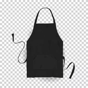 Delantal de cocina negro realista. ilustración sobre fondo transparente.