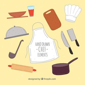 Delantal y otros elementos de cocinero dibujados a mano