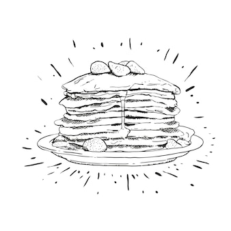 Delecious pancake line art illustration