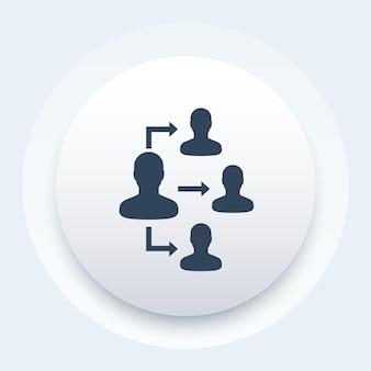 Delegación, icono de vector
