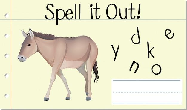 Deletrear inglés palabra burro