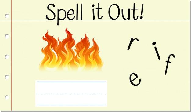 Deletrear inglés palabra fuego