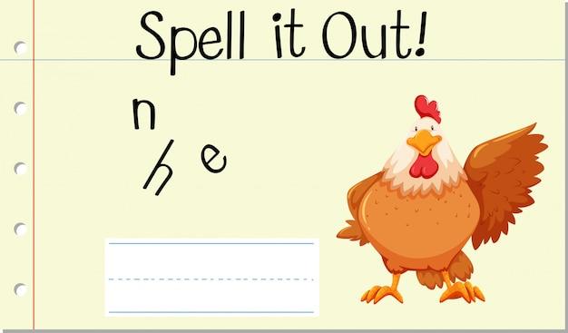 Deletrear inglés palabra gallina
