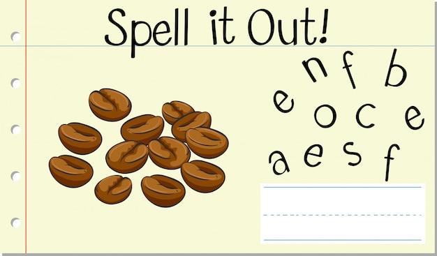 Deletrear inglés palabra grano de café