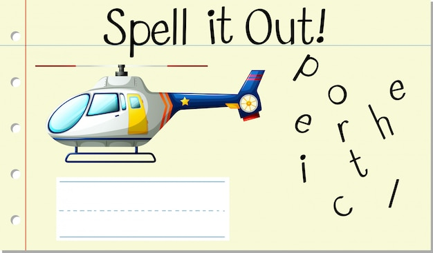 Deletrear inglés palabra helicóptero