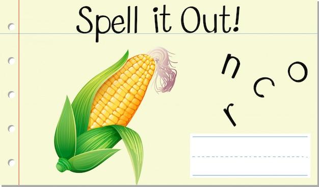 Deletrear inglés palabra maíz