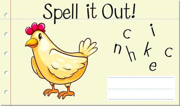 Deletrear inglés palabra pollo