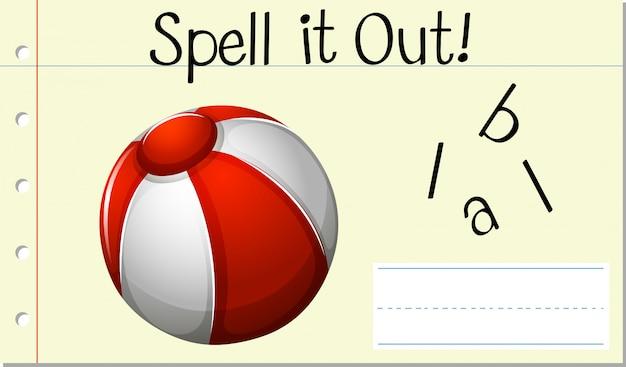 Deletrear palabra inglesa ball