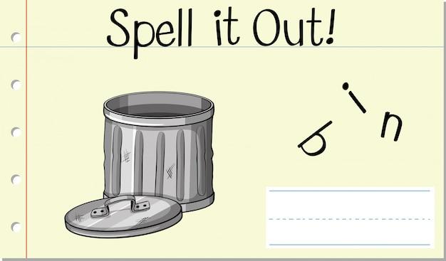 Deletrear palabra inglesa bin