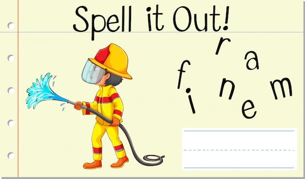 Deletrear palabra inglesa bombero