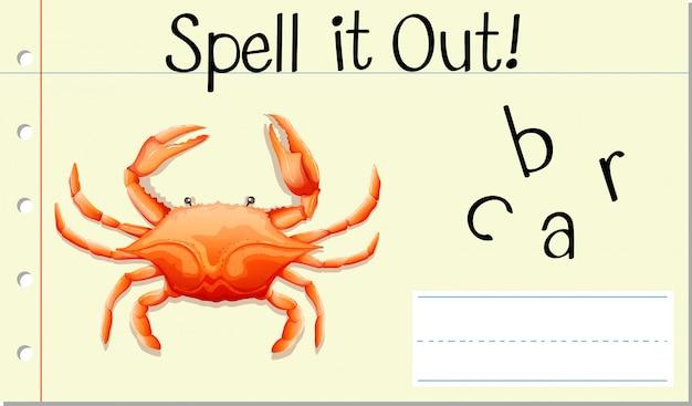 Deletrear la palabra inglesa cangrejo