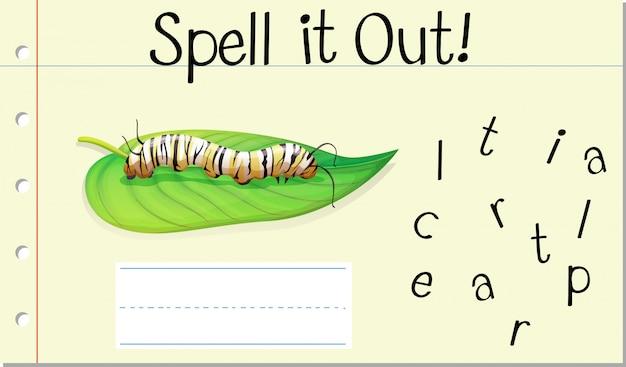 Deletrear palabra inglesa caterpillar