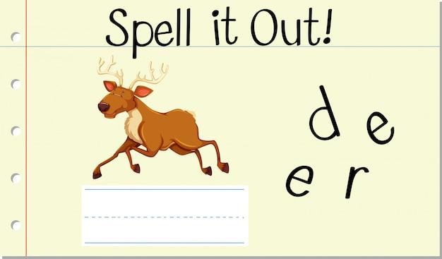 Deletrear la palabra inglesa ciervo