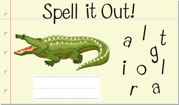 Deletrear la palabra inglesa cocodrilo