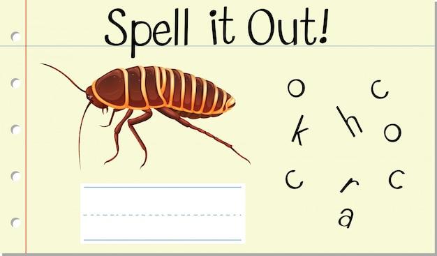 Deletrear palabra inglesa cucaracha
