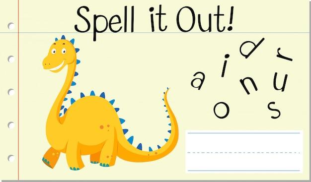 Deletrear palabra inglesa dinosaurio
