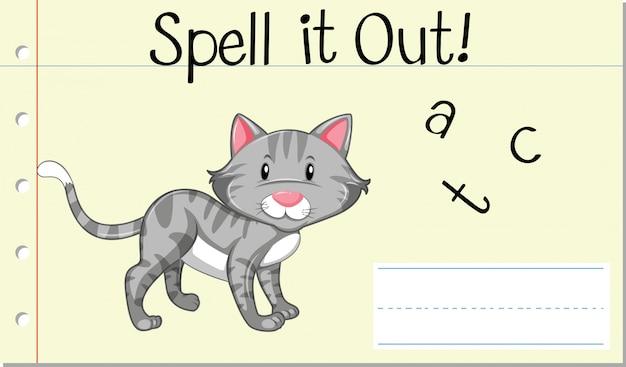 Deletrear la palabra inglesa gato