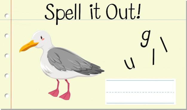 Deletrear palabra inglesa gaviota