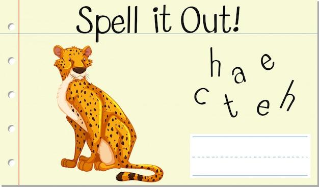 Deletrear palabra inglesa guepardo