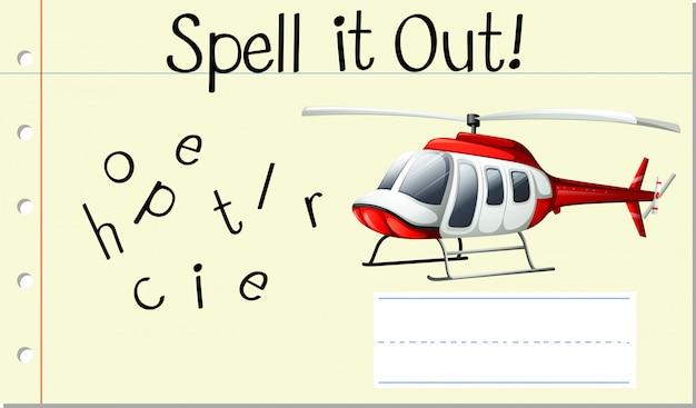 Deletrear palabra inglesa helicopter