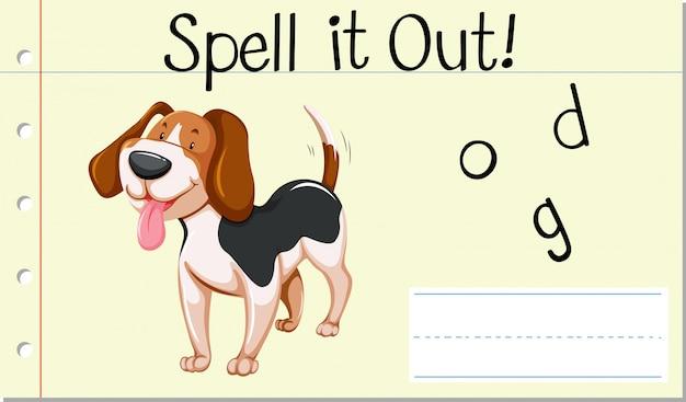 Deletrear palabra inglesa perro