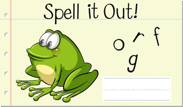 Deletrear la palabra inglesa rana